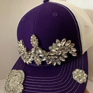 Accessories - New hand embellished  purple crystal women's cap